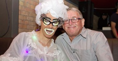 Baz Bloomfield (pictured right) with Auckland Drag Queen Daphne Bush