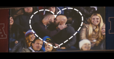Two men kiss in an NFL PSA video
